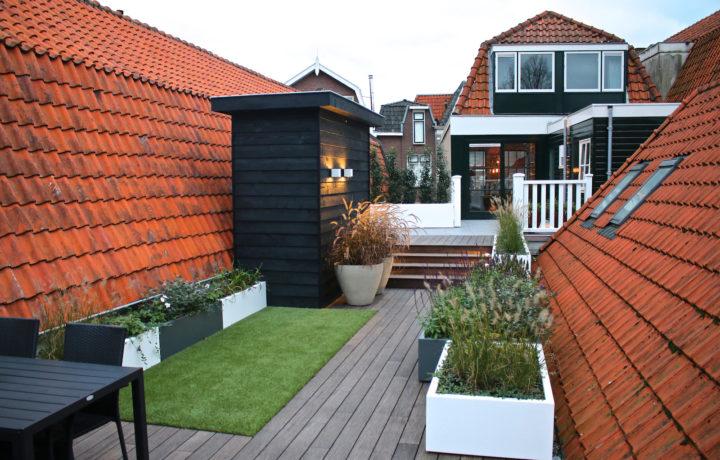 Dakterras in Hoorn met oa. bamboe buitenparket en keramische tegels